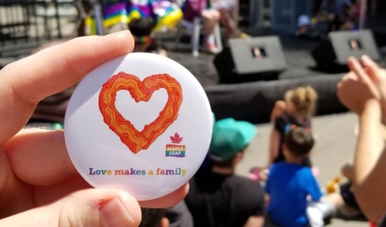 Maple Leaf brand at Family Pride in Toronto - Love makes a family button