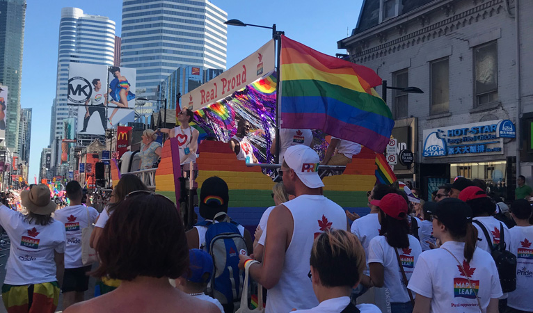 Maple Leaf brand marching in Toronto Pride Parade 2019