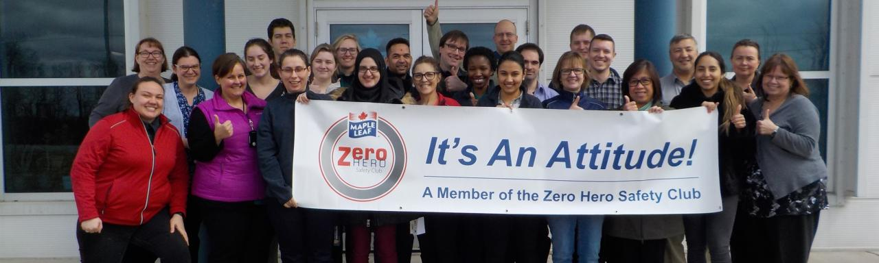 Maple Leaf Foods Zero Hero Club members at the Central Laboratory