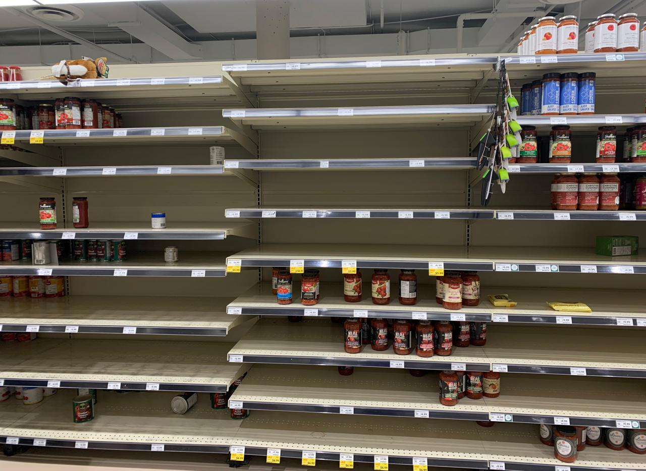 Empty grocery shelves during the COVID-19 pandemic.