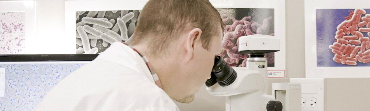 Employee in Lab looking through microscope.